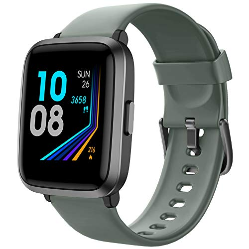YAMAY Smart Watch 2020 Ver. Watches for Men Women Fitness Tracker Blood Pressure Monitor Blood Oxygen Meter Heart Rate Monitor IP68 Waterproof,Smartwatch Compatible with iPhone Samsung Android (Green)