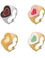 Lucky Meet 5 st ins mode berlock ring älskare hjärta ringar färgglada vintage boho stapelbara fingerringar för kvinnor män smycken finger knogring midi ring