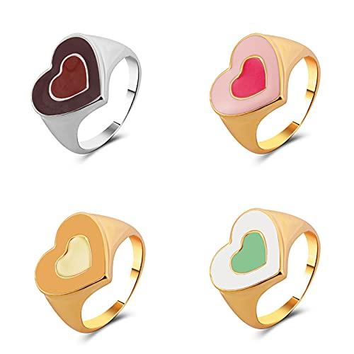 Lucky Meet 5 anillos de moda INS para amantes del corazón, anillos coloridos vintage bohemios apilables para mujeres y hombres, joyería de dedo y nudillos