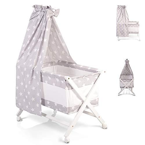 Berceau, lit bébé en barreaux avec baldaquin,set de linge et matelas CASSY Gris