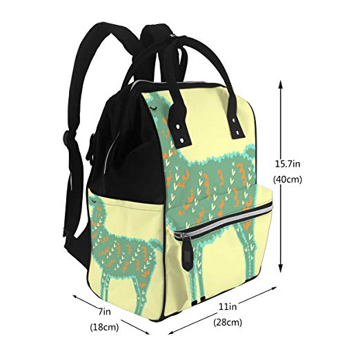 Travel Mom Backpack Designer Lama Sea Water Alpaca with Fur Hearts and Eyes Closed Diaper Bags Backpack