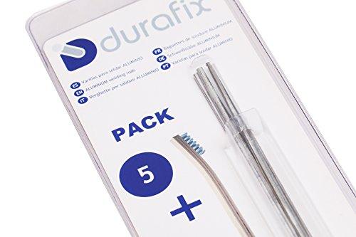 DURAFIX Varillas para soldar aluminio con 1 cepillo de alambre inoxidable Pack de 5