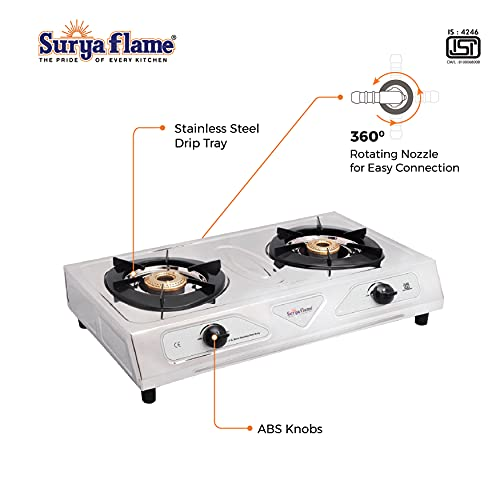 Suryaflame Gas Stove 2 Burners Stainless Steel 2B RETRO SS NA (ISI Marked, CE Certified) with Doorstep Service - Silver