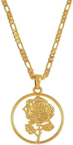 ZHIFUBA Co.,Ltd Collar de Moda con Colgante de Flor Rosa, Collares para Mujer, joyería de Amuleto de Madre, Regalos de Boda árabes africanos, joyería de Color Dorado, 45 cm