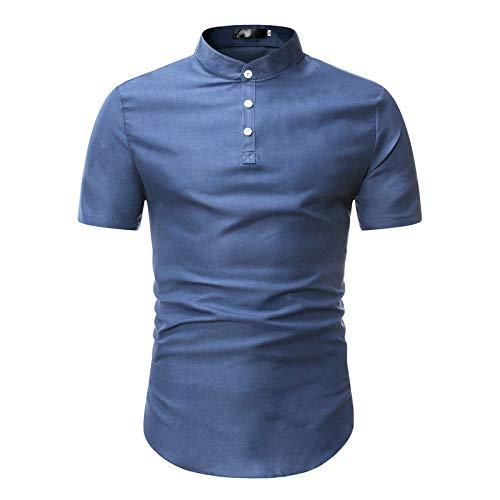Camisa de Manga Corta para Hombre, Camisa Formal Informal Delgada con Costura de Botones de Color slido Simple, Blusa de Negocios para Oficina 3XL