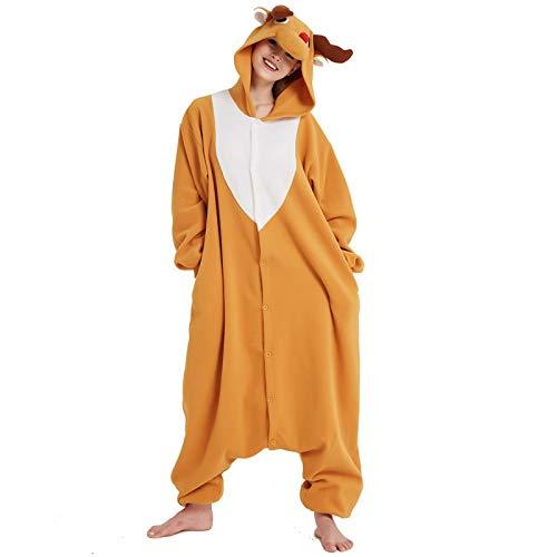 Lorenory pyjama dier Elk Deer Kigurumi Dier pyjama Voor Volwassenen Onesies Jumpsuit Winter Slaapmode Voor Halloween Kerst Pyjama Thuis Cosplay Party
