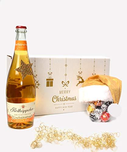 """Geschenkset Weihnachten""""Rotkäppchen Wintersecco Apfel & Zimt mit Weihnachtsmann-Mütze gold von Lindt"""""""