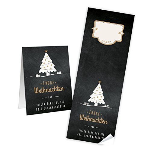 Lange kerststickers Boom zwart wit Frohe Kerstmis TEXT 7 x 21 cm deelbaar cadeau-stickers klanten verpakking kerstmis papieren zakken dichtplakken kerstdecoratie 25 Stück