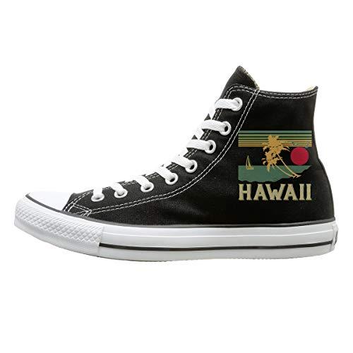 FOOOKL Vintage Hawaiian Canvas Shoes High Top Design Black Sneakers Unisex Style 135