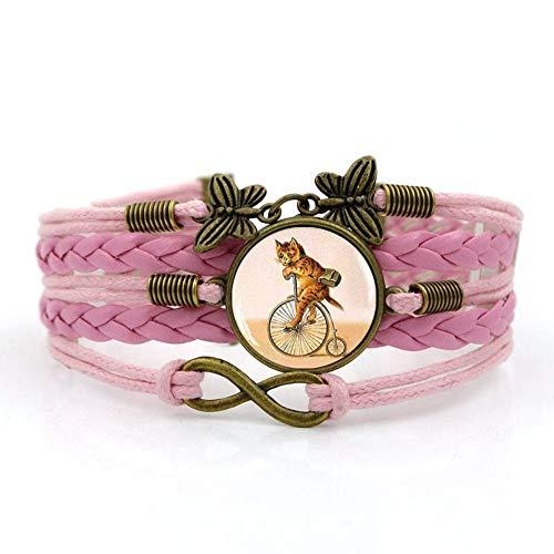 Pulsera Tejida,Cuerda Rosa Gato Animal Bicicleta Retro,Tiempo Pulsera De Piedras Preciosas De Múltiples Capas Tejidas A Mano Combinación De Joyas De Cristal Moda De Mujer Joyería De Estilo Eur