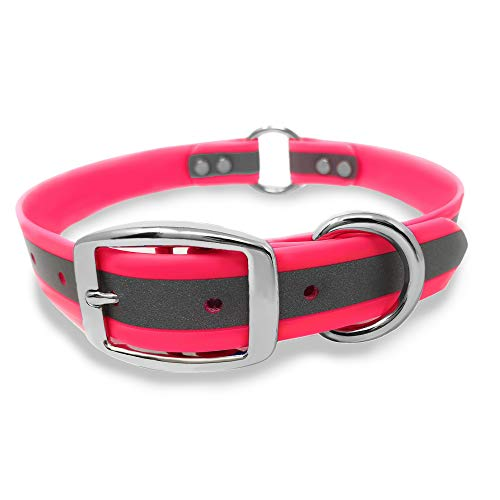 Heavy Duty Pink Reflective Dog Collar – Adjustable Dog Collar with Durable Metal Buckle and Center Ring, Anti-Odor, chew Resistant, Waterproof Dog Collar for Small Dogs and Puppies