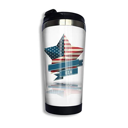 Veterans Day Star Kaffee-Reisebecher Auto Becher Edelstahl Wasserflasche Isolierter Thermobecher Edelstahl für Arbeit & Reisen, 304 Edelstahl + lebensmittelechtes ABS, Schwarz , Einheitsgröße