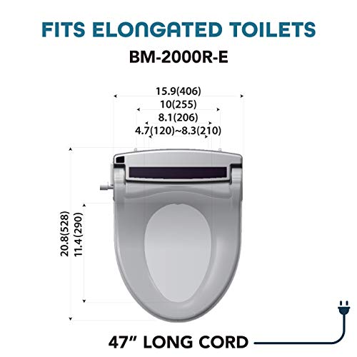 BidetMate 2000 Series Electric Bidet Heated Smart Toilet Seat with Unlimited Heated Water, Wireless Remote, Deodorizer, and Heated Dryer - Adjustable and Self-Cleaning - Fits Elongated Toilets