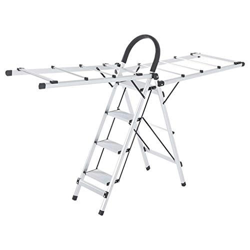 Metal Vier Step Ladder, Meerdere toepassingen Kledingrek Handdoek/Deken/Quilt/Schoenen - Opvouwbare Design / 2 kleuren (Kleur: A, Maat: 38 * 95,5 * 138cm) XIUYU