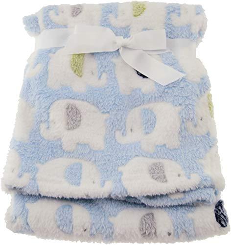 Bieco Babydecke Jungen Blau Elefanten | Baby Decke | Kuscheldecke Baby | Baby Blanket | Tagesdecke Kinder Jungen | Buggy Decke | Baby Kuscheldecke | Kissen | Decke Baby| Flauschige Fleecedecke