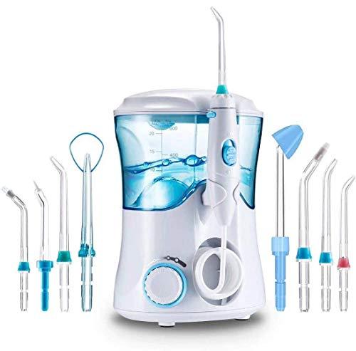 Irrigador Dental Professionale con 8 Boquillas Multifuncionales, Jkevow Irrigador Bucal Limpieza Dientes con Capacidad de 600ml, 10 Ajustes de Presión del agua, Aprobado por la FDA/CE (Blanco B)