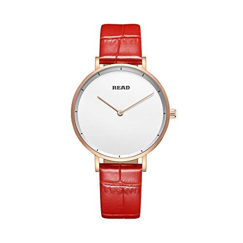 Damen Quartz Uhr,Ultra Dünne Analoge Quarz,Einfache Casual Armbanduhr mit Lederarmband for Frauen R6005 (Red-White)