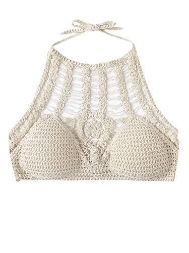 SweatyRocks Women's Summer Beach Cut Out Self Tie Crochet Halter Bikini Crop Top Beige M