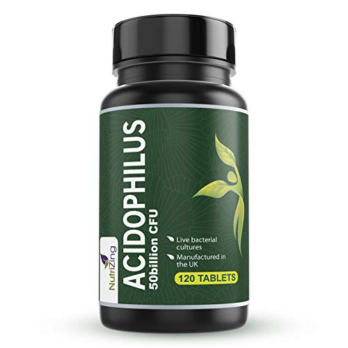 High Strength Lactobacillus Acidophilus 50bn CFU - 120 Tablets - Easy to Swallow and Vegan - Made in UK by NutriZing