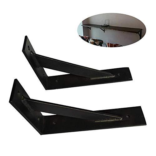 Yuany plankhouders, 2 x driehoekig, zwart, 400 mm, drijvende krachtige rekbeugels, industriële wandhouder/gietijzer, max. Belasting 330 lb / met schroeven.
