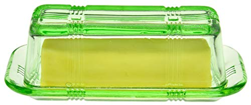 HOME-X Depression Style Green Glass Butter Dish with Lid, Retro Kitchen Decor, Wedding Gift
