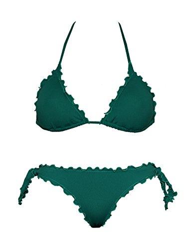 Bikinicolors Bikini Triangolino Frou Frou con Slip o Brasiliana | Made in Italy Slip (Top con Slip Normale 46), Verde Quercia