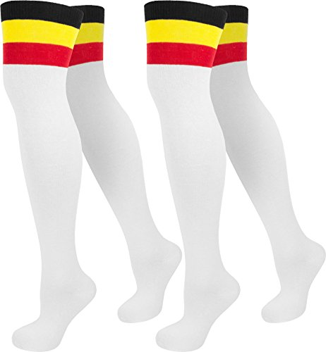 2 Paar Damen Overknee Überknie Uni in Schwarz oder Weiß Farbe Weiß mit Colorbund