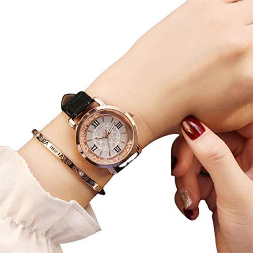 Damenuhr, einfache Quarzuhr, modische Strass-Lederarmband, rundes Zifferblatt, Armbanduhr Geschenk für lässige tägliche Frauen und Mädchen