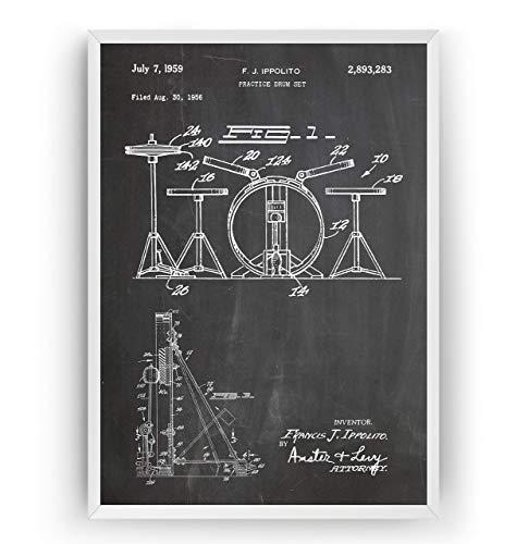 Schlagzeug 1959 Patent Poster - Practice Drum Set Jahrgang Drucke Drucken Bild Kunst Geschenke Zum Männer Frau Entwurf Dekor Vintage Art Blueprint Decor - Rahmen Nicht Enthalten