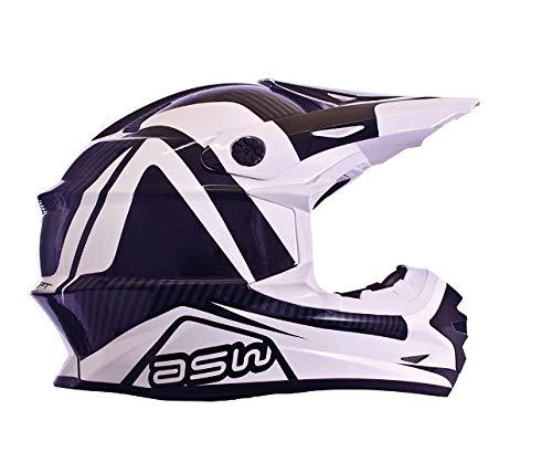 Capacete Moto Cross Asw Concept Preto E Branco 60