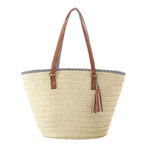 iBaste_S Spalla elegante della spiaggia di estate singolo sacchetto Borsa in Boemia paglia intrecciata Fleece Per Donna Taglia unica