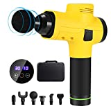 [Upgraded] Massage Gun, Enow Cordless Handheld Deep Tissue Massager for Muscle Tension Relief, Professional Personal Massage Device with 30 Adjustable Speeds & 6 Replaceable Massage Heads (Yellow)