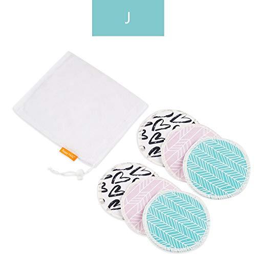 NoBrand Bambou Coussinets d'allaitement du Sein Pad for La Maman Lavable Étanche Alimentation Pad Bambou Réutilisables Coussinets d'allaitement avec Sac À Linge (Color : J Nursing Pads)