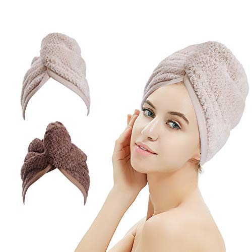 M-bestl 2 Pack Hair Drying Towels,Hair Wrap Towels,Super Absorbent Microfiber Hair Towel Turban with Button Design to Dry Hair More Quicker(Khaki&Coffee