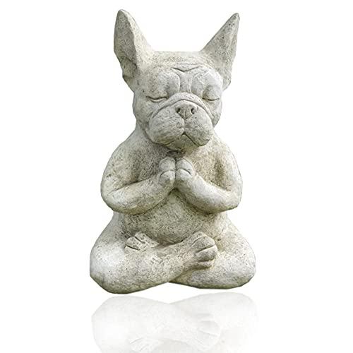 Kolsar Meditating Sitting French Bull Dog,Yoga Bulldog Statue,Dog Statues Outdoor,Bull Dog Ornament For The Home, Patio, Lawn, Outdoors