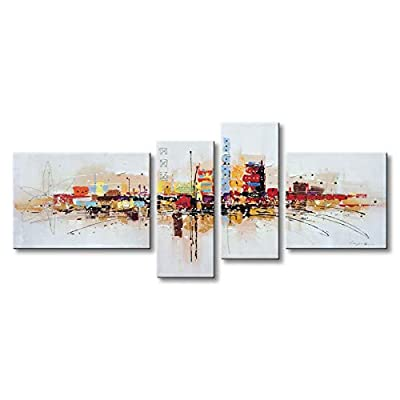 Winpeak Art Framed Handmade Abstract Oil Painting Canvas Wall Art Hanging Modern Contemporary Cityscape Artwork Home Decoration Stretched Ready to Hang by Winpeak Art