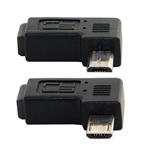 2 piezas de 90grados a la izquierda y en ángulo recto, mini USB de 5pines hembra a micro USB macho, sincronización de datos, adaptador de alimentación