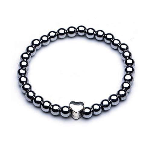 BESTT Magnetische Armband - Unisex Hämatit Therapie Stein Runde Perlen Stretch Armreif für Gewichtsverlust Abnehmen Anti-Müdigkeit Schmuck