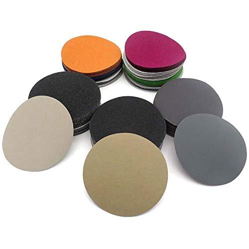 YANJHJY 30PCS 3 Zoll 75 MM Klettverschluss-Nassschleifpapier-Schleifscheibe, Siliziumkarbid 60 bis 10000 Körnungen zum Polieren Schleifen, 4000