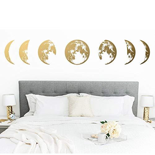 Calcomanía de pared de fase lunar, decoración de fase lunar, calcomanía moderna, fase lunar calcomanía de pared, fase lunar arte de pared etiqueta de otro color 57x10cm
