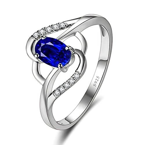 KnSam Anillo de mujer, anillos de plata 925, flor de plata con grabado gratuito, para mujer con circonita azul, alianzas de boda para mujer, plata azul, plateado, Circonita cúbica.,