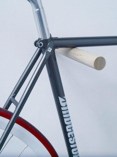 Designer Fahrrad Wandhalterung - BIKE HOOKS - versch. Sticks zu Auswahl, mit Metall- oder Farbfronten, aus Eiche oder Nussbaum, hochwertige Verarbeitung - Möbelstück zur Wandmontage des Fahrrads (Eiche)