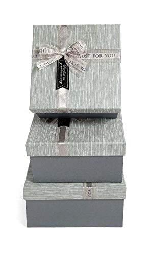 Idena 30252 - Geschenkboxen Grau, 3er Set, FSC-Mix, Geschenkkartonagen, Geschenkverpackung, Geschenkschachtel