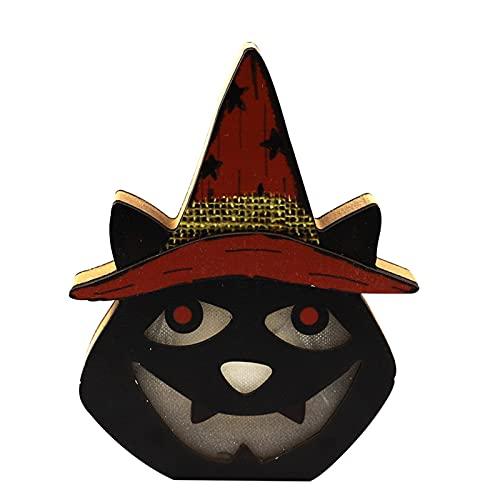 4 Pack Luces Cabeza Calavera Madera para Halloween, Lámpara Linterna Miedo Colgante Bricolaje, Accesorios Escena Fiesta con Pilas, Decoración, Lámparas Ambiente Miedo Creativas