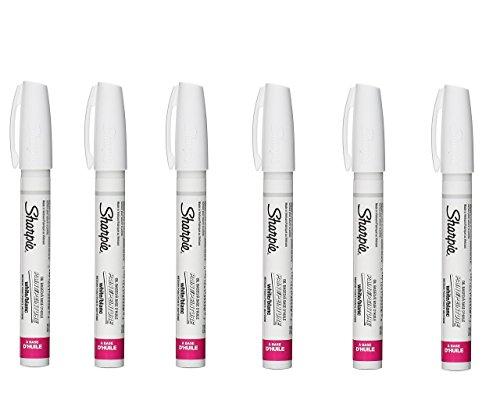 Sharpie Oil-Based Paint Marker, Medium Point, White Ink, Pack of 6