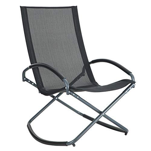 SONGMICS sonneninsel Relaxliege Liegestuhl relaxsessel Sonnenliege gartenliege Gartenstuhl Schaukelstuhl Schaukelsessel Eisengestell, bis 150 kg belastbar, schwarz GCB28BK