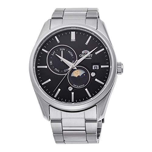 ORIENT 'Sun & Moon' Automatic Black Dial Steel Watch RA-AK0302B