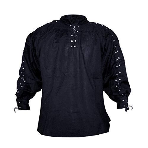 SAY Mittelalter Baumwollhemd mit Schnürung an Kragen und Ärmeln/Farbe: Schwarz/Mittelalter Gewandung/Syndicate Armoury (L)