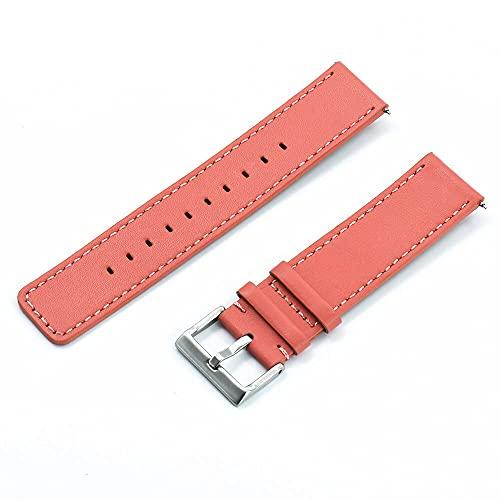 LINMAN Correa de Reloj de Cuero 22 mm Pulsera Barra de Barra de liberación rápida para Cada Banda de Relojes de Marca (Band Color : Pink, tamaño : 22mm)