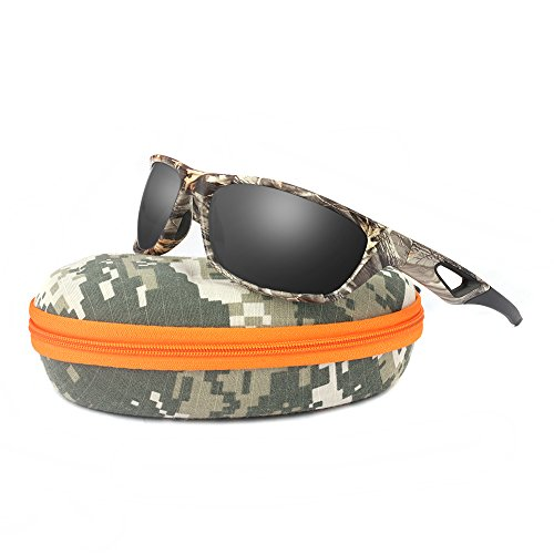 Polarized Sunglasses for Men and Women - Sports Brand Camo Tr90 Unbreakable Frame Dark Gray Lens Youth Baseball Sun Glasses for Hunting Boating UV 400